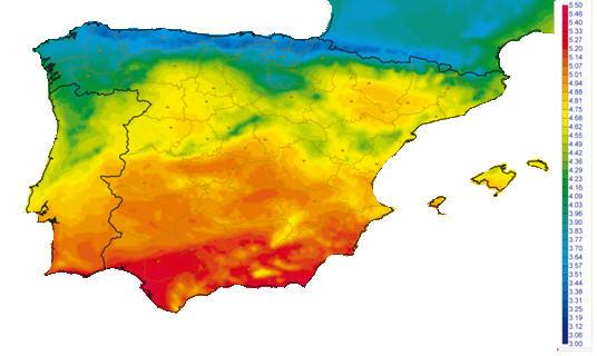 zonas radiación solar españa